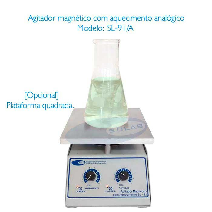 Agitador magnético com aquecimento para laboratório