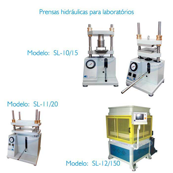 Prensa hidráulica com aquecimento para laboratório