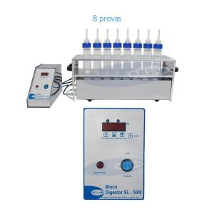 SL-50/8-R - Bloco Digestor para 8 tubos Macro com Rampa para uso com Scrubber