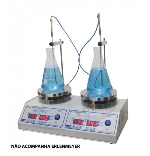SL-92/2-H - Agitador Magnético Duplo Digital (Com Aquecimento e Sensor Externo)